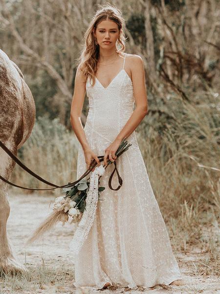 Milanoo Vestido de novia simple 2020 Correas con cuello en V Sin mangas Hasta el suelo Vestido de novia Boho