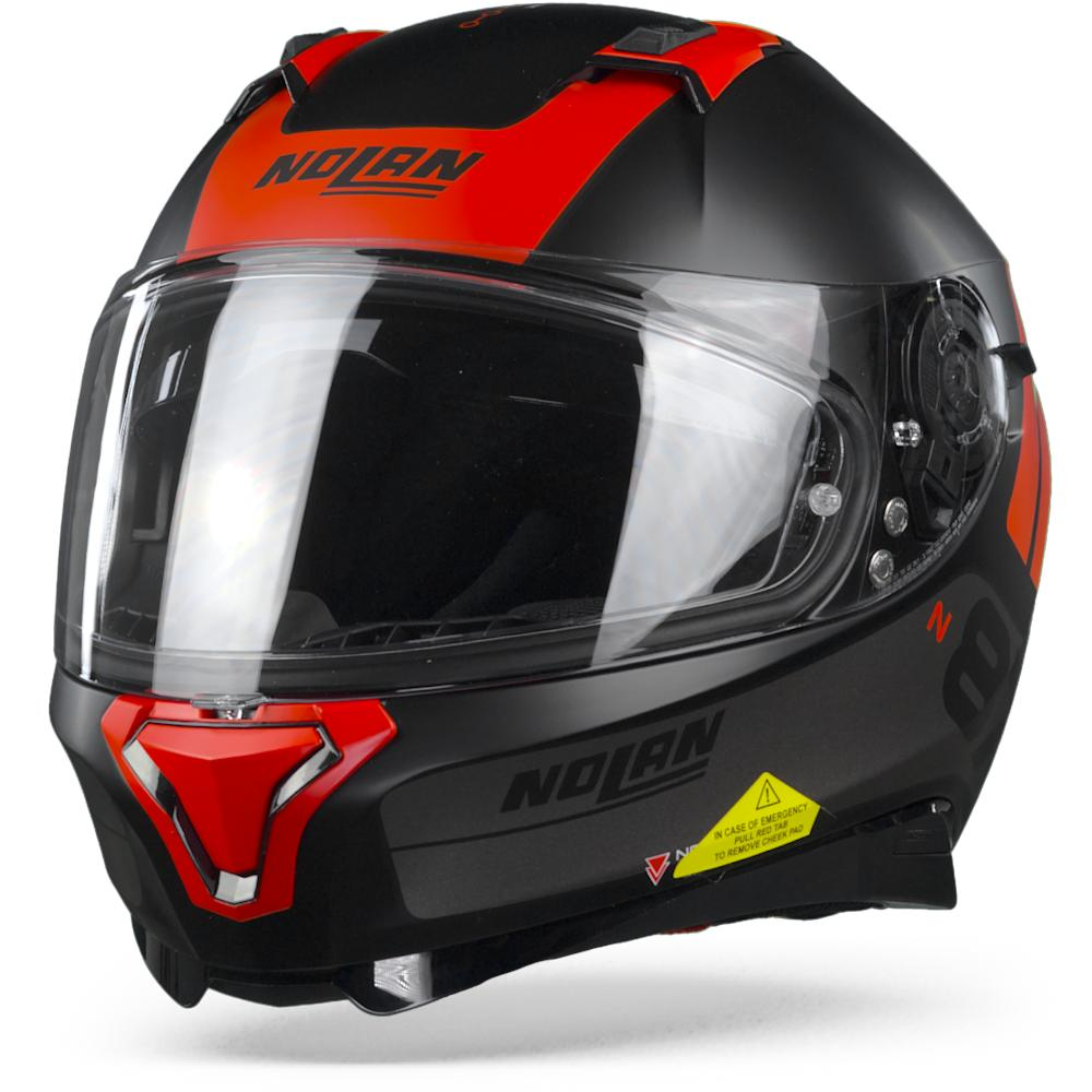 Nolan N87 Plus Distinctive 24 Flat Casco Integral Negro Rojo  L