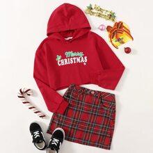 Girls Christmas Slogan Graphic Raw Hem Hoodie & Tartan Skirt Set