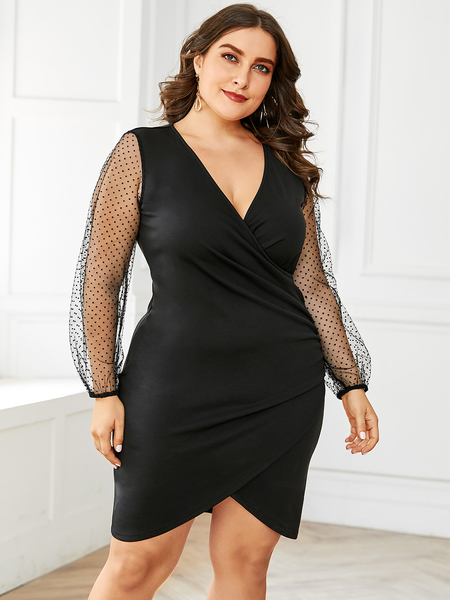 YOINS Plus Size Semi Sheer V-neck Long Sleeves Dress