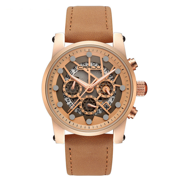 Luxury Genuine Leather Strap Military Mens Watches 3 Small Dials Chronograph Date Waterproof Watches
