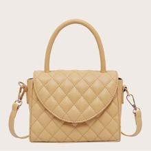 Top Handle Quilted Satchel Bag