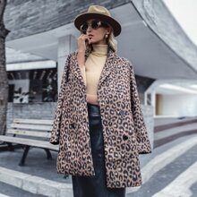 Blazer mit zweireihigen Knopfen, Leopard Muster und Schlitz hinten