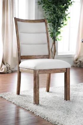 BM183605 Linen Like Fabric Upholstered Solid Wood Side Chair In Rustic Style  White and Brown  Pack of