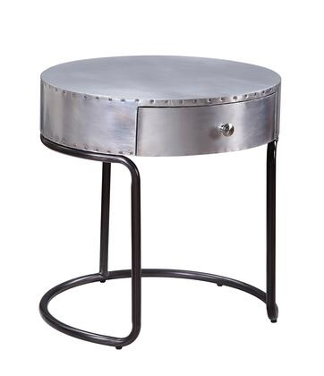BM204467 Aluminum Patchwork Wooden End Table with Metal Cantilever Base