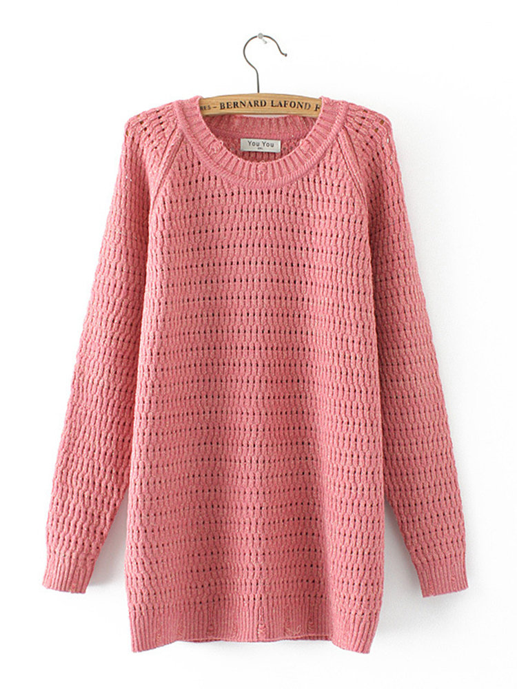 Casual Hollow Solid Color Long Sleeve Sweater