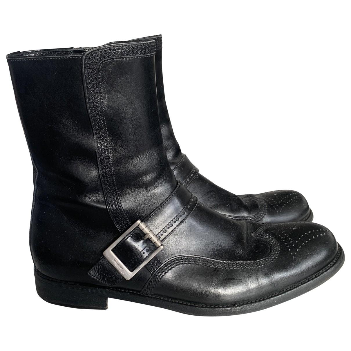 Salvatore Ferragamo \N Black Leather Boots for Men 7.5 US