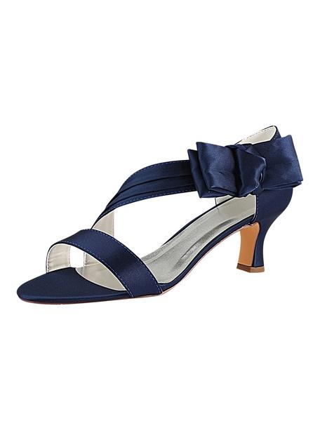 Milanoo Satin Wedding Shoes Dark Navy Open Toe Bow Kitten Heel Mother Shoes