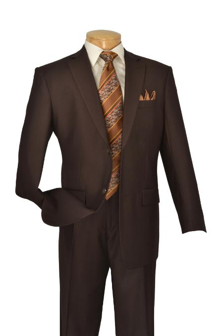 Poly/Rayon Executive Pure Solid Brown Suit Notch Collar Pleated Pants