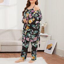 Cami Top mit Blumen Muster & Hose & Robe mit Guertel