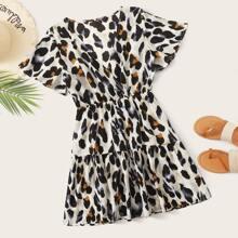 A-Linie Kleid mit Muster und V-Kragen