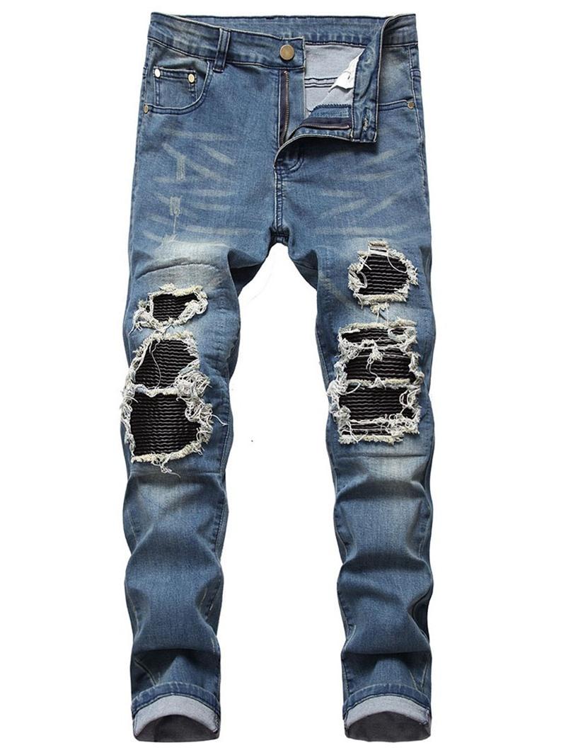 Ericdress Patchwork Color Block Straight Zipper European Jeans