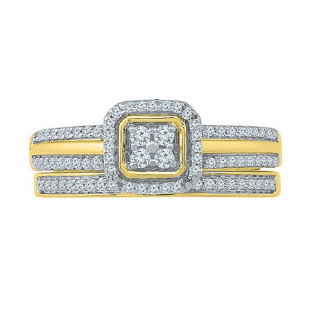 Womens 1/3 CT. T.W. Genuine White Diamond 10K Gold Bridal Set, 9 , No Color Family