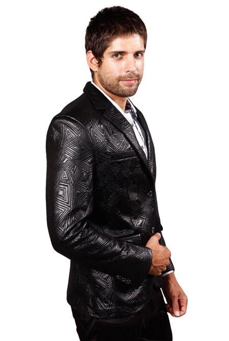 Mens Classic 2Button Angles Black Notch Lapel RegularFit Blazer Jacket