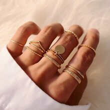 9pcs Disc Charm Ring