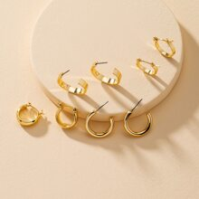 4pairs Simple Solid Earrings