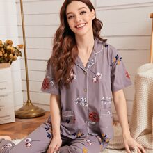 Floral Print Dual Pocket PJ Set