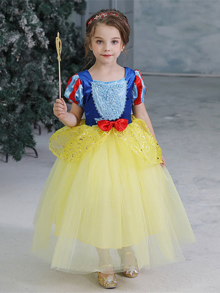 Milanoo Kids Snow White Dress Yellow Halloween Tulle Princess Wears For Child