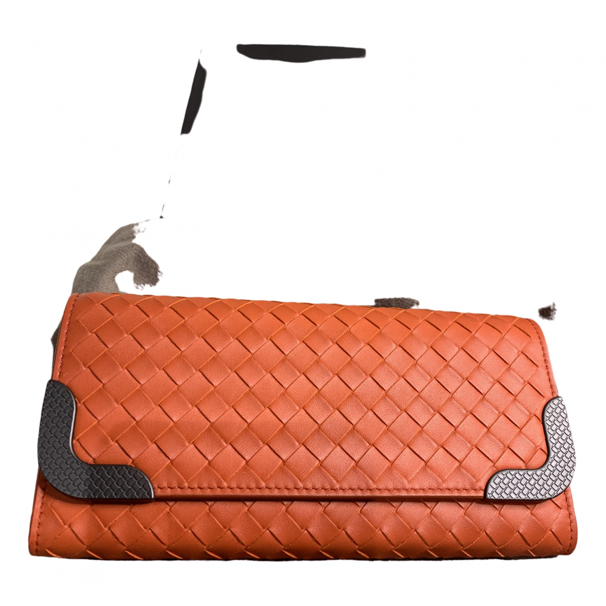 Bottega Veneta Intrecciato Portemonnaie in  Orange Leder