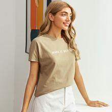 T-Shirt mit Fledermausaermeln und Buchstaben Grafik