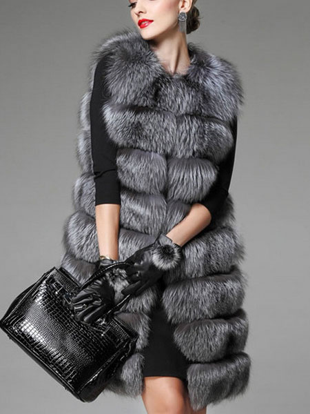 Milanoo Women Faux Fur Vest Sleeveless Jacket Grey Quilted Gilet