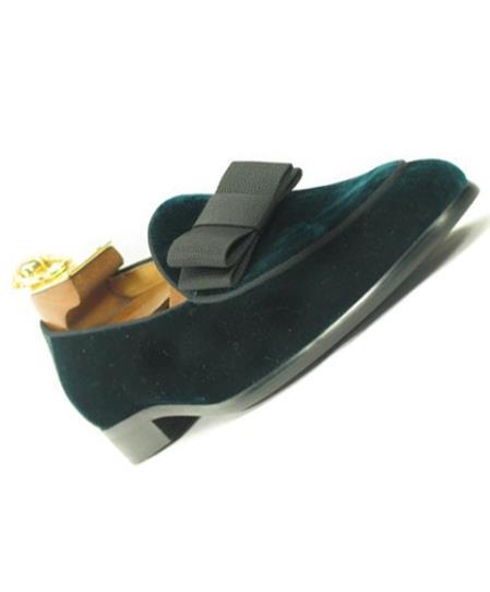 Mens Slip On Velvet / Bow Tie Emerald Tuxedo Formal Dress Shoe