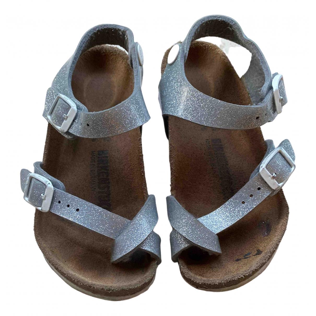 Birkenstock - Sandales   pour enfant en cuir - argente