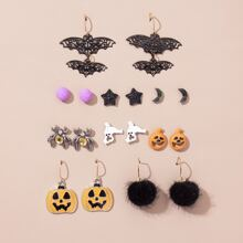 9 Paare Ohrringe mit Halloween Fledermaus Detail