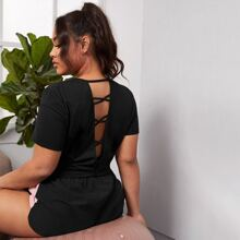 Plus Criss Cross Back Solid Tee