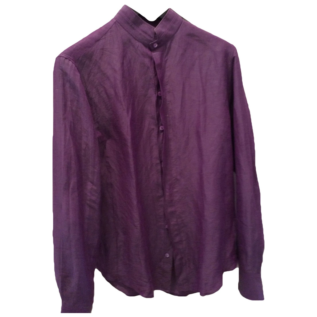 Giorgio Armani \N Purple Linen Shirts for Men 39 EU (tour de cou / collar)