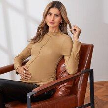 Maternidad camiseta con costura delantera de cuello alto
