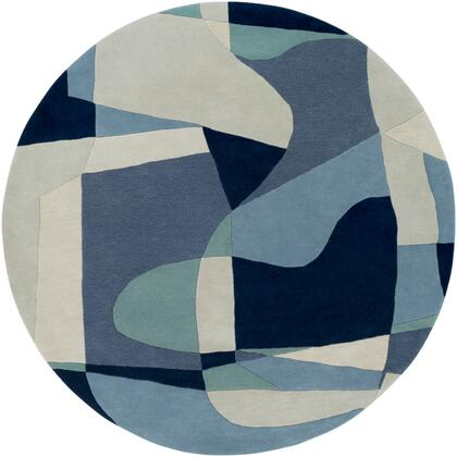 Forum FM-7195 6' Round Modern Rug in Teal  Navy  Denim  Ivory  Light Gray  Dark