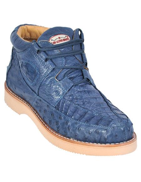 Men's Stylish Blue Jean Genuine Caiman & Ostrich Skin Casual Sneakers