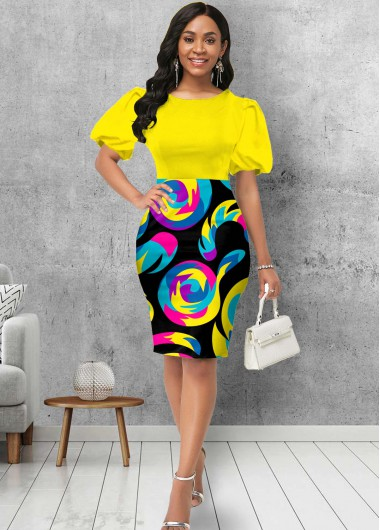 Wedding Guest Dress Round Neck Puff Sleeve Geometric Print Dress - M