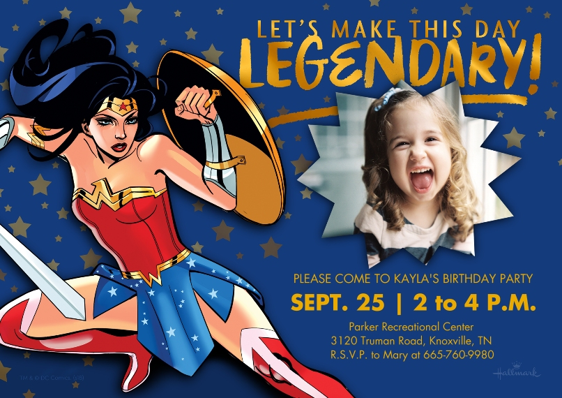 Kids Birthday Party 5x7 Cards, Premium Cardstock 120lb, Card & Stationery -Legendary Wonder Woman