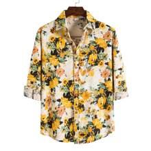 Hemd mit Blumen Muster und Knopfen