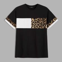 Guys Leopard Print Colorblock Tee