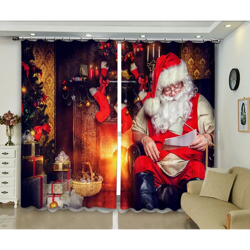 3D Blackout and Decorative Curtains with Father Christmas Design Print