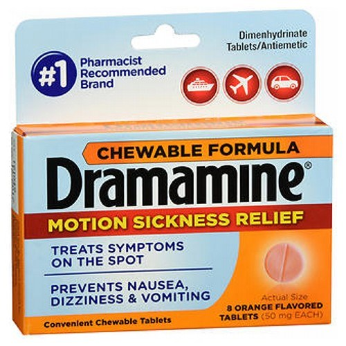 Dramamine Motion Sickness Relief Chewable Tablets Orange Flavored 8 Tabs by Med Tech Products