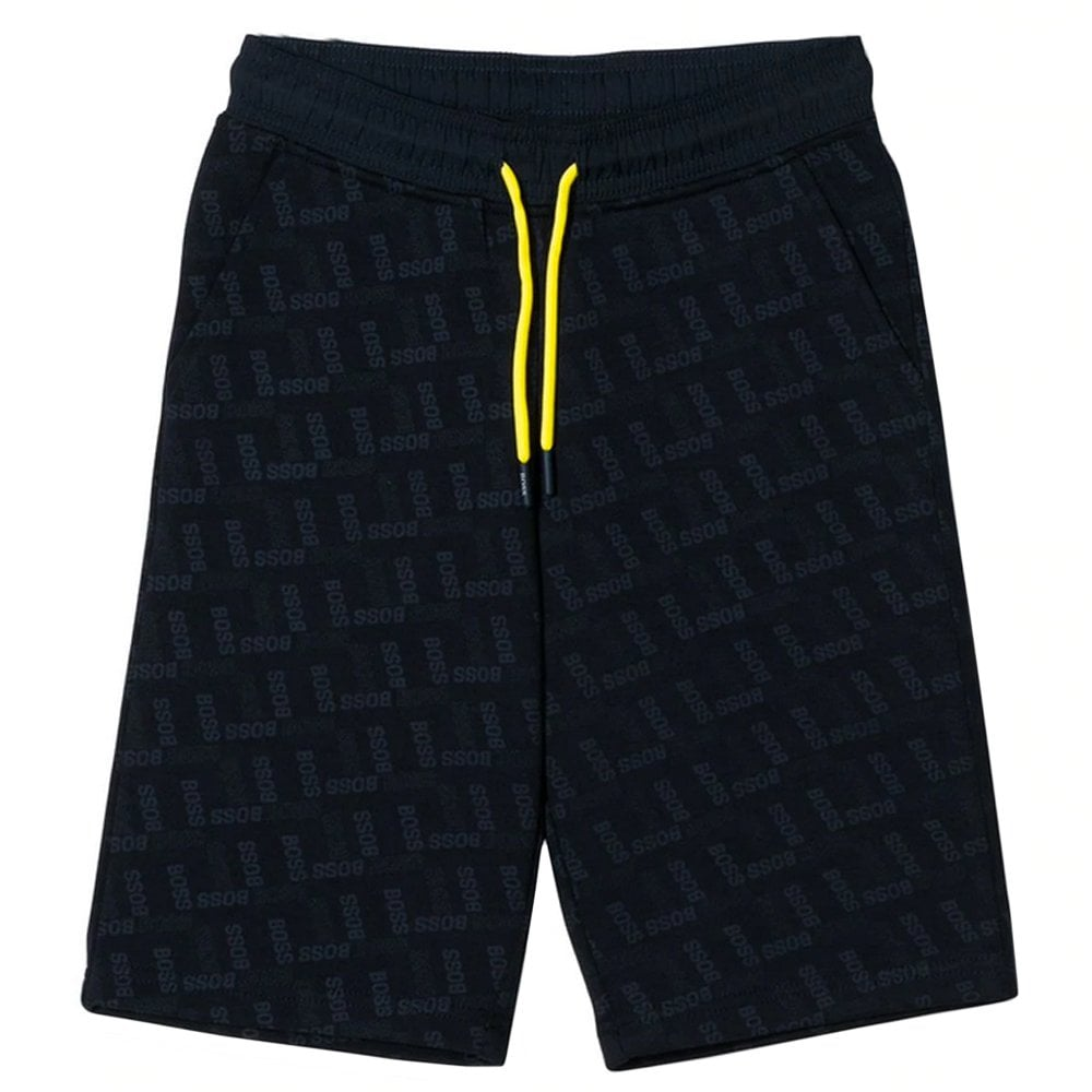 Hugo Boss Kids All-over Logo Shorts Colour: NAVY, Size: 16 YEARS