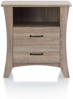 Colt Collection 97262 24 Nightstand with 2 Drawers  Open Compartment  Tapered Legs  Metal Hardware  Paper Veneer and Engineered Wood Construction in