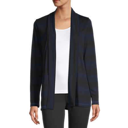 Liz Claiborne Womens Long Sleeve Cardigan, Large , Blue