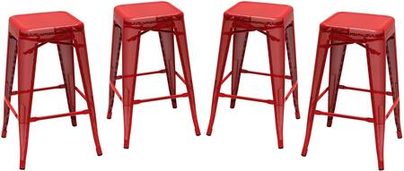 MESHSTRE4PK Mesh Serie Backless Metal Stool (Set of 4) with Metal Legs  Leg Rest and Square Shape Seat  in