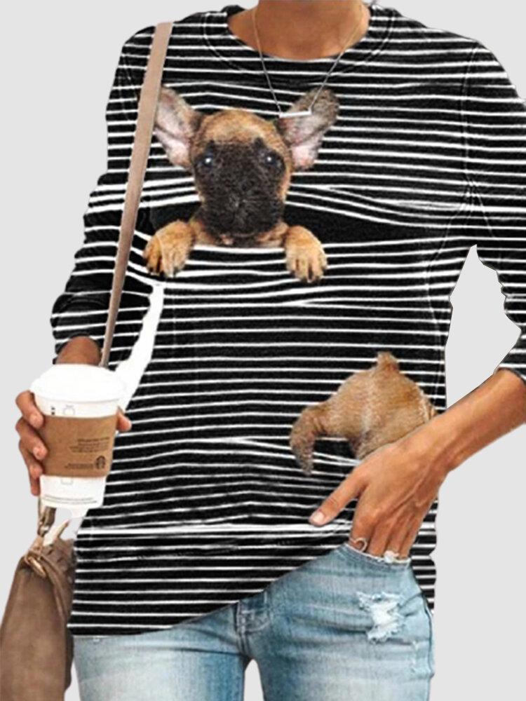 Cartoon Dog Print Striped Long Sleeve O-neck Plus Size T-shirt