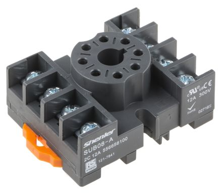 RS PRO 8 Pin Relay Socket, DIN Rail, 300V for use with  RUB Relays