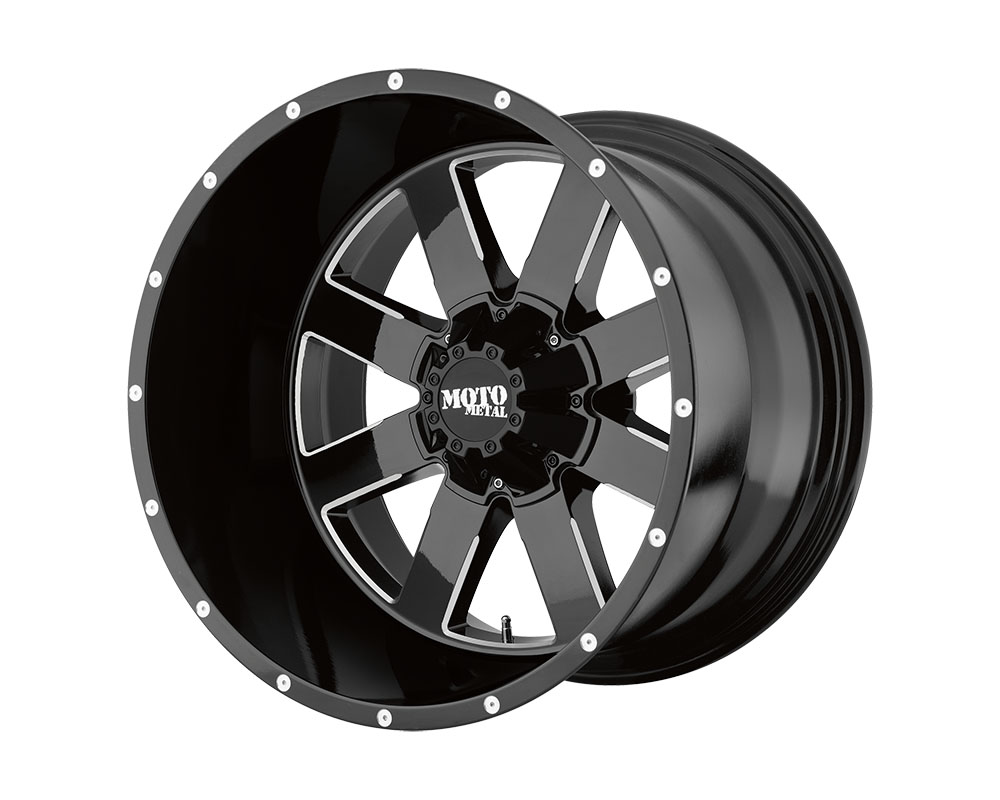 Moto Metal MO96222480376N MO962 Wheel 22x14 8x8x165.1 -76mm Gloss Black Milled