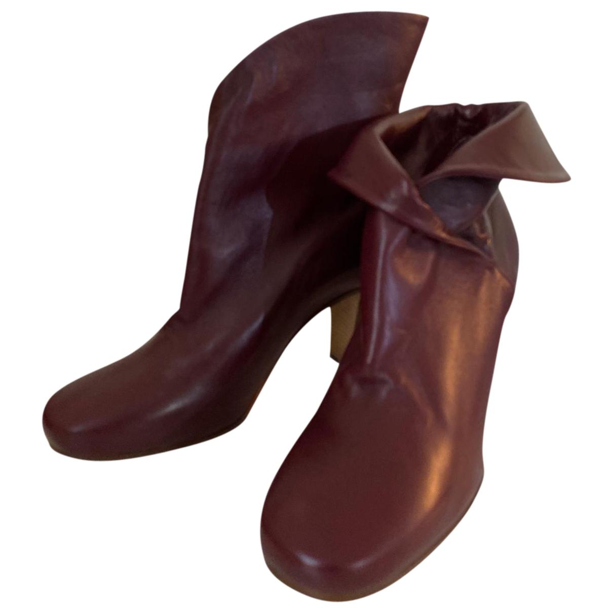 Celine Wrapped boots Stiefeletten in  Bordeauxrot Leder