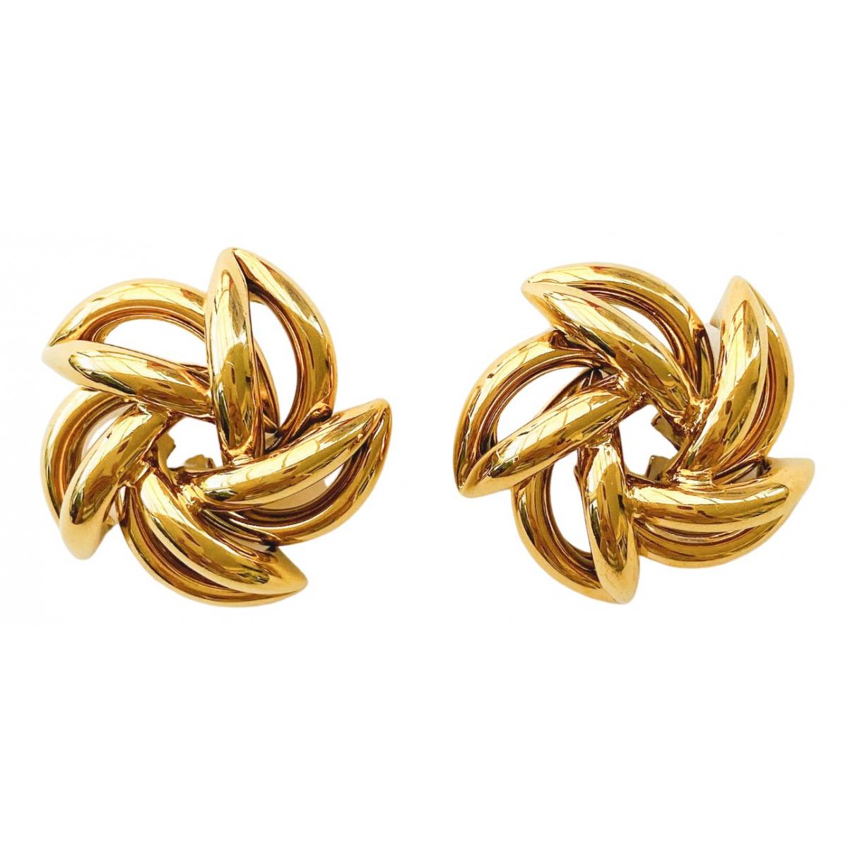Non Signe / Unsigned Motifs Floraux OhrRing in  Gold Vergoldet