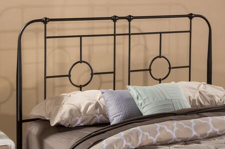 Trenton Collection 1859HQ Full/Queen Size Headboard with Rails  Open-Frame Panel Design  Small Round Castings and Metal Construction in Black