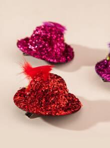 6pcs Toddler Girls Glitter Hat Decor Hair Clip